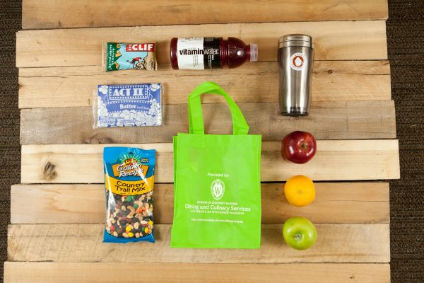 Healthy fruit and snack bag