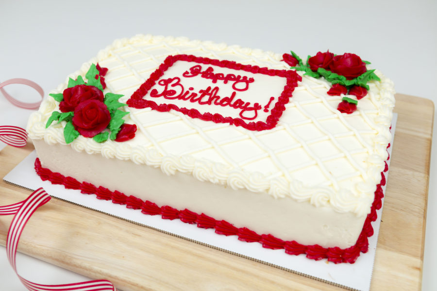 red and white birthday cake