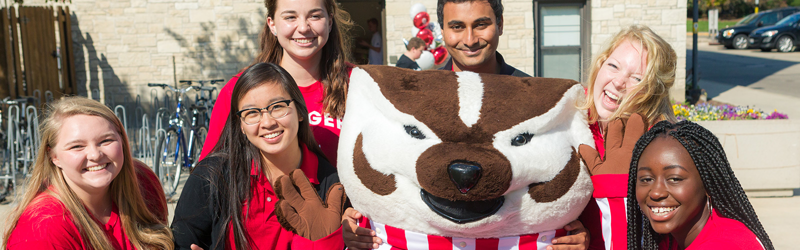 Bucky with residents at move-in