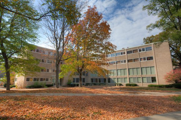 Phillips Hall exterior in fall