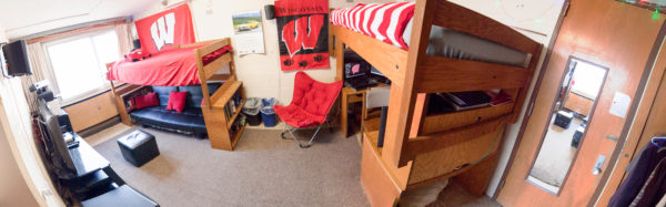 An image of a 2-window double room in Sellery Residence Hall in 2013.