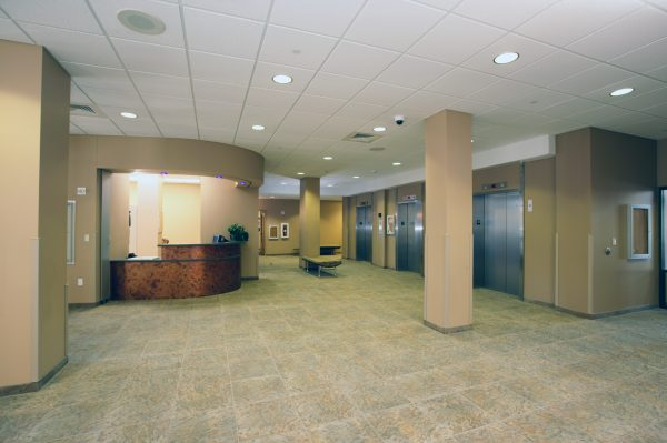 Desk and lobby of Smith Hall.