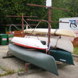 Canoe racks in University Houses.