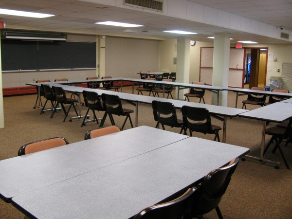 Lower level meeting space in Phillips Hall.