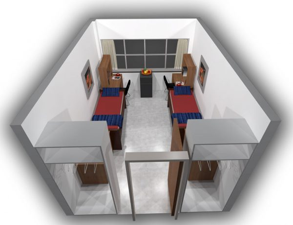 3d view of a guest room in Cole Hall.