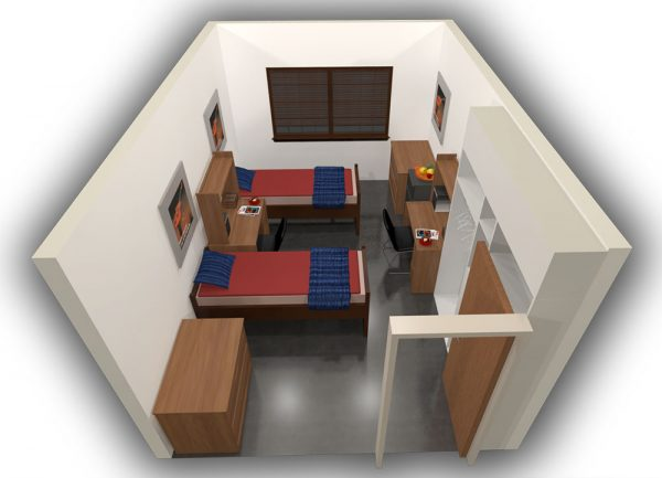 3d view of guest accommodations in Waters Hall.