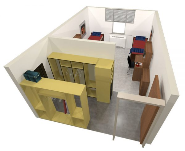 A 3d view of guest accommodations in Ogg Hall.