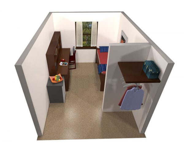 3d view of guest accommodations in Tripp Hall.