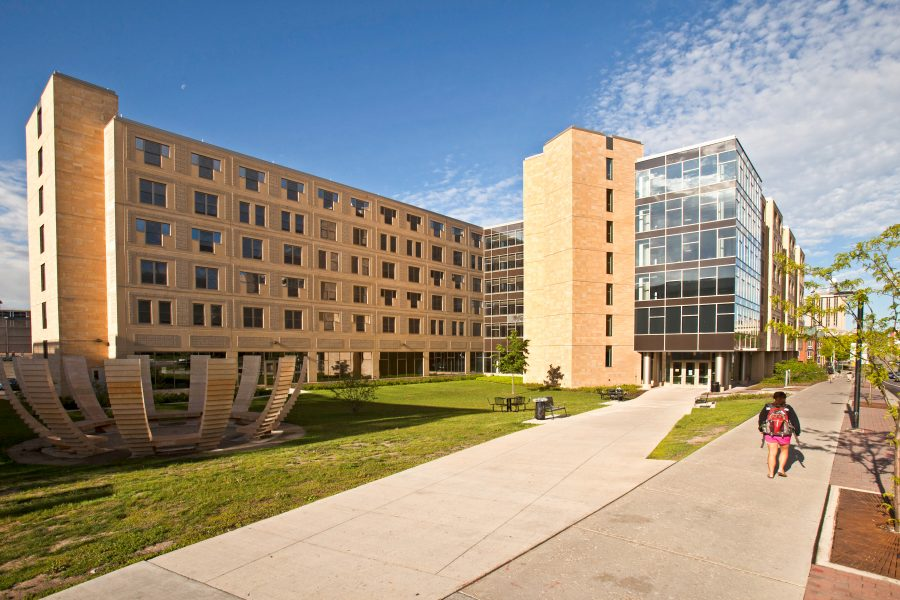 Exterior of Ogg Hall.
