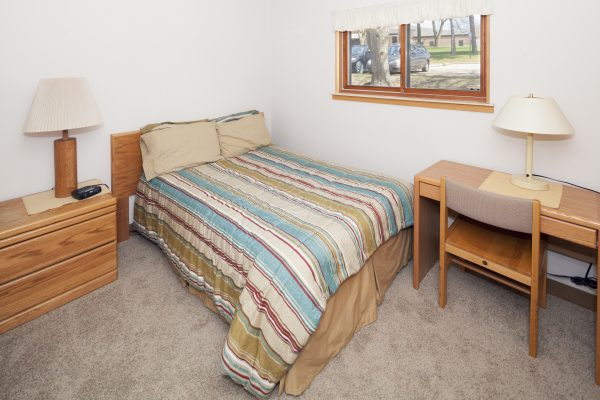 Bedroom in Eagle Heights apartment.