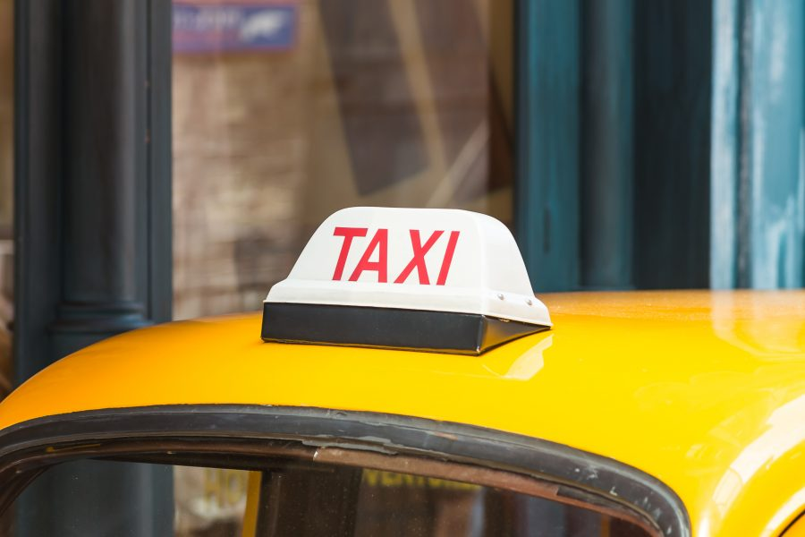 Taxi cab waiting for a passenger.