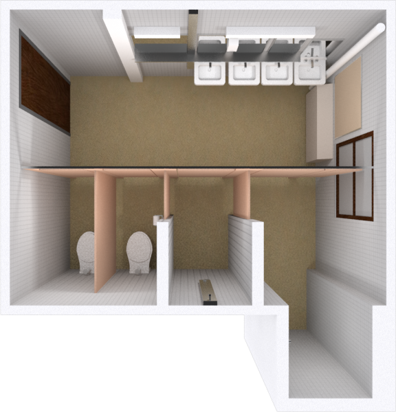 A 2d layout view of a bathroom in Adams.