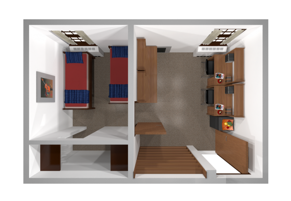 A 2d layout view of a double room in Adams.