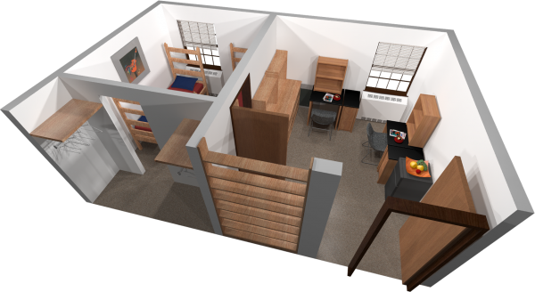A 3d layout view of a double room in Tripp.