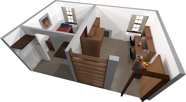 A 3d layout view of a double room in Adams.