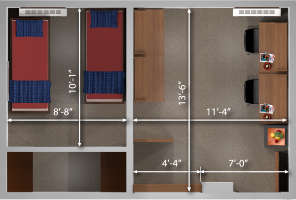 A 2d layout view with the dimensions of a double room in Adams.