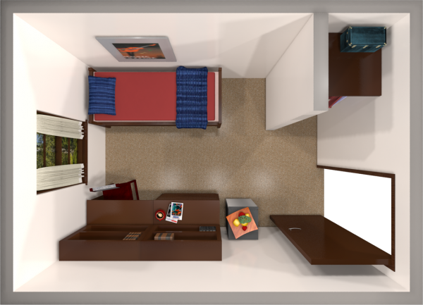 A 2d layout view of a single room in Adams.