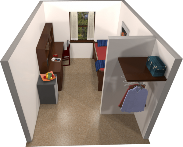 A 3d layout view of a single room in Adams.