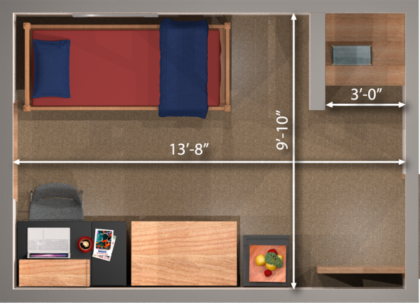 A 2d layout view with the dimensions of a single room in Tripp.