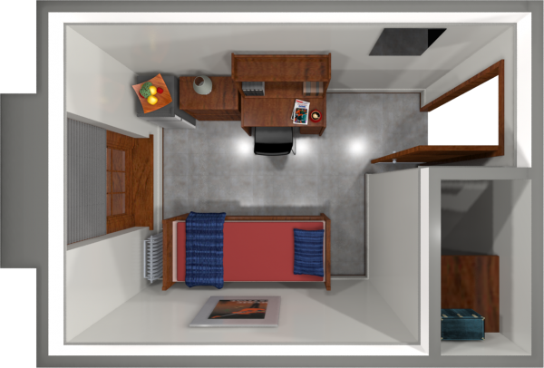 A 2d layout view of a single room in Barnard.