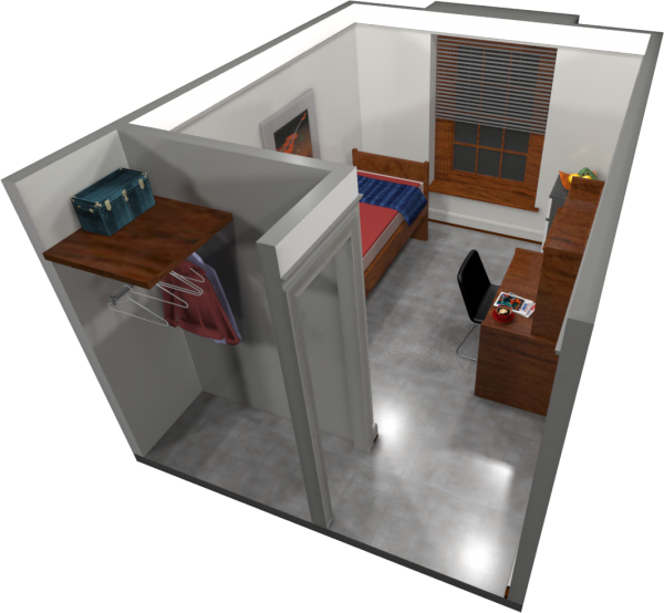 A 3d layout view of a single room in Barnard.