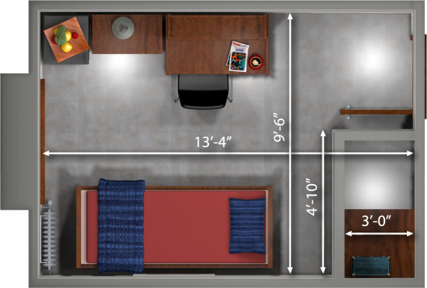 A 2d layout view with the dimensions of a single room in Barnard.