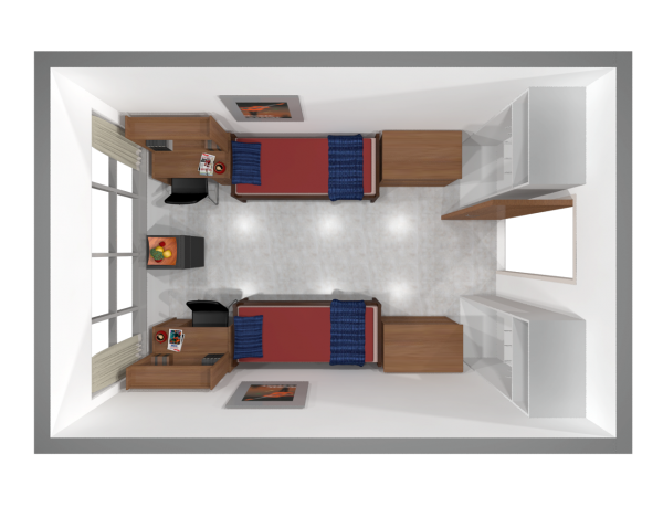 A 2d layout view of a double room in Bradley.