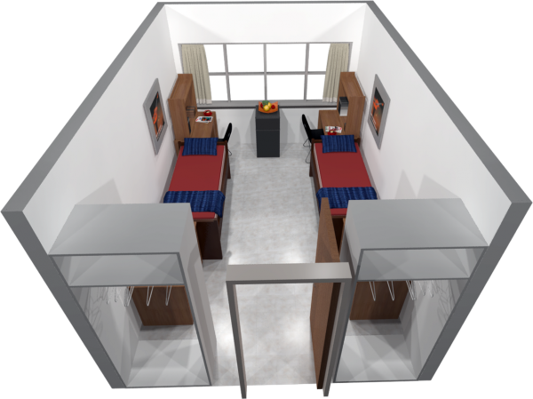 A 3d layout view of a double room in Bradley.
