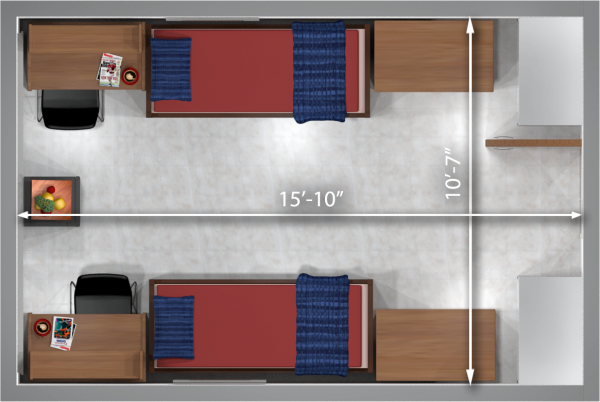 A 2d layout view with the dimensions of a double room in Bradley.