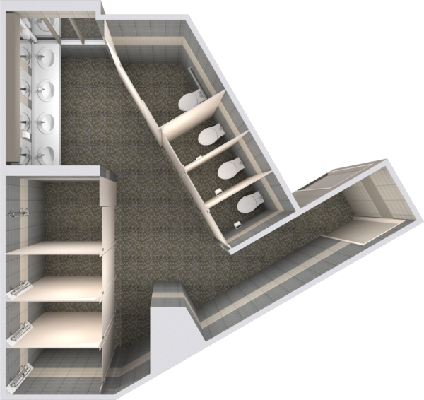 2d layout view of bathroom in Chadbourne