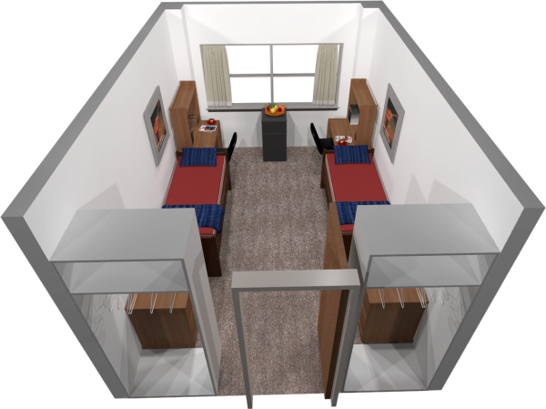A 3d layout view of a double room in Chadbourne.