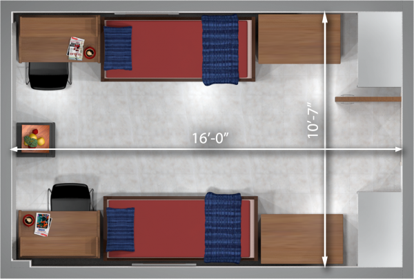 A 2d layout view with the dimensions of a double room in Cole.