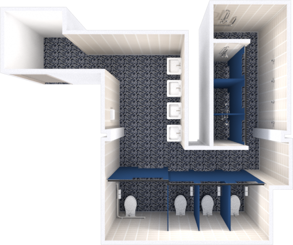 A 2d layout view of a bathroom in Sullivan.