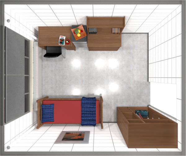 A 2d layout view of a single room in Davis.