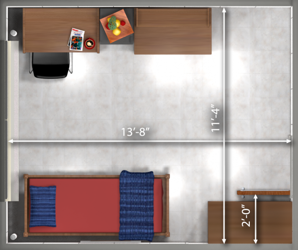 A 2d layout view with the dimensions of a single room in Davis.