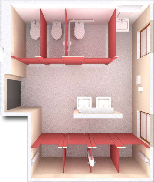 A 2d layout view of a bathroom in Kronshage.