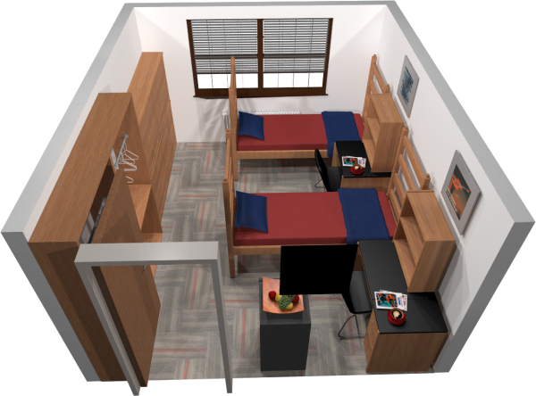 A 3d layout view of a double room in Kronshage.