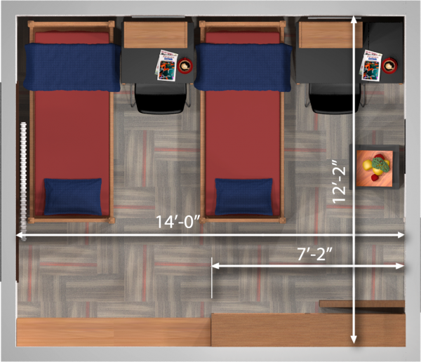 A 2d layout view with the dimensions of a double room in Kronshage.