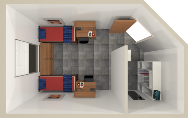 Leopold residence hall university housing uwmadison uw madison university housing a 2d layout view of a double room in leopold publicscrutiny Choice Image