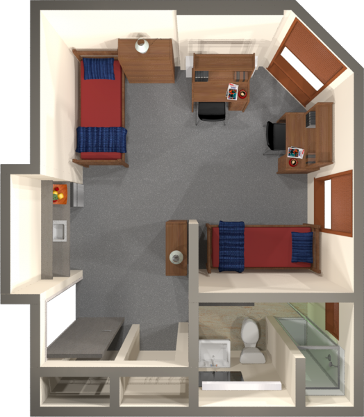 Merit residence hall university housing uwmadison uw madison university housing a 2d layout view of a double room in merit publicscrutiny Choice Image