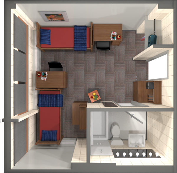 Phillips residence hall university housing uwmadison uw madison university housing a 2d layout view of a double room in phillips publicscrutiny Choice Image