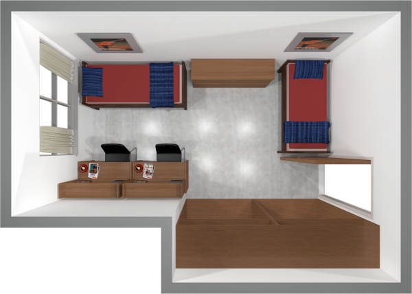 A 2d layout view of a two-window, double room in Witte.