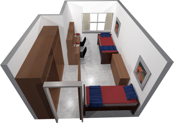 A 3d layout view of a two-window, double room in Sellery.
