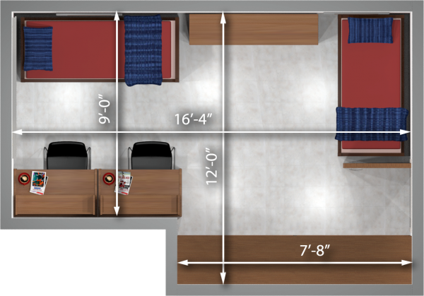 A 2d layout view with the dimensions of a two-window, double room in Witte.