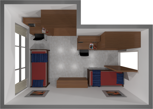 A 2d layout view of a three-window, double room in Sellery.