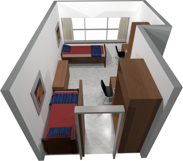 Witte residence hall university housing uwmadison a 3d layout view of a three window double room in witte publicscrutiny Choice Image