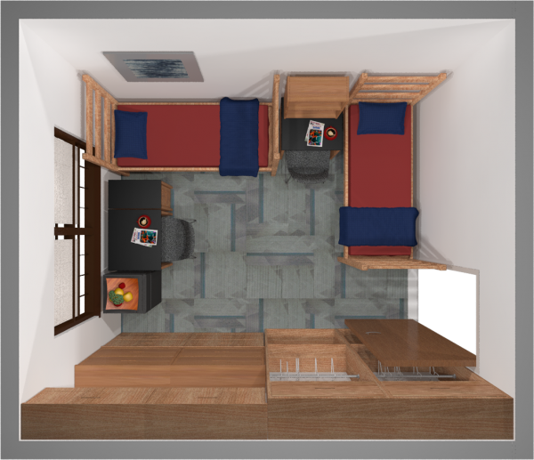 A 2d layout view of a double room in Slichter.