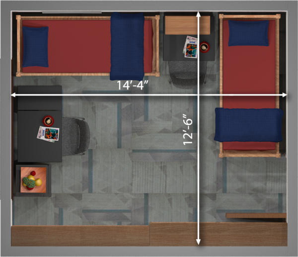 A 2d layout view with the dimensions of a double room in Slichter.