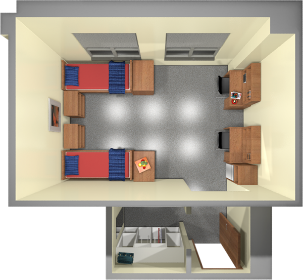 A 2d layout view of a double room in Smith.