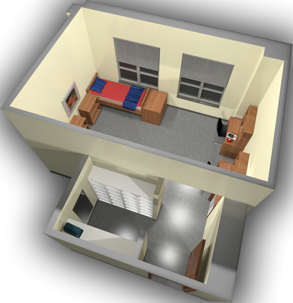 A 3d layout view of a double room in Smith.